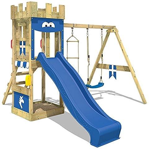 WICKEY Spielburg KnightFlyer Spielturm Kletterturm mit Schaukel, Rutsche, Sandkasten und