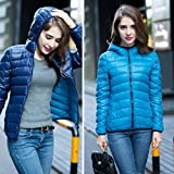 LnLyin Women's Packable Down Puffer Coat Lightweight Down Winter Jacket,Sided wear,Navy and Lake Blue,S