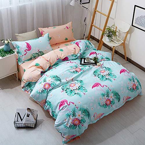 Wifehelper 3 Stücke Bettbezug Kissenbezüge Weichen Bequemen Langlebigen Grünen Flamingos Druck 100% Polyester Weiche Bettwäsche Set Blatt Hause Schlafzimmer Dekoration(Twin)