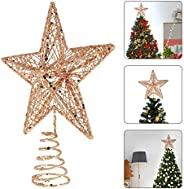 Christmas Tree Topper 5-Point Star Treetop Star Christmas Decoration Glittered Tree-top Star LED Lights for Ch
