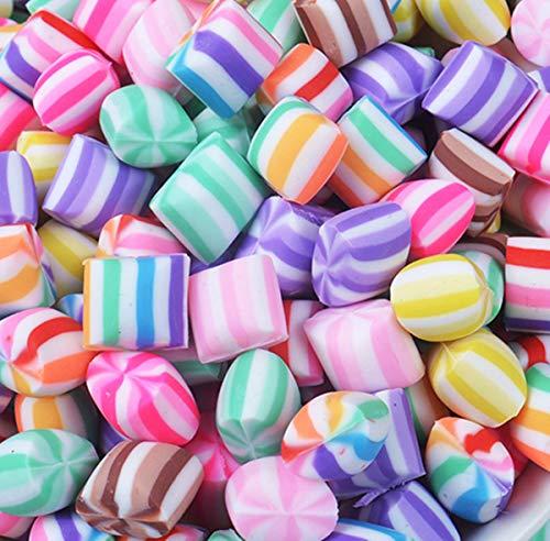 Charm-Anhänger in Herzform, Regenbogen-Marshmallow, Kunstharz, flache Rückseite, Cabochons für Handarbeit, Miniatur, Fee, Garten, Accessoires, Scrapbooking, DIY, multi, rainbow -