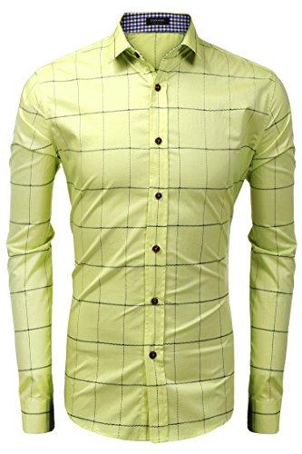 Aulei Herren Karohemd slim fit Hemd mit Karodessin für Business Hochzeit Oktoberfest kariertes Flanellhemd Bügelleicht Gelb
