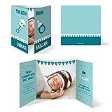 40 x Danksagungskarten Danksagung Geburt Taufe Geburtstag - Altarfalz in Türkis/Blau