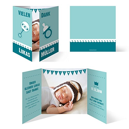 30 x Danksagungskarten Danksagung Geburt Taufe Geburtstag - Altarfalz in Türkis/Blau