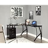 L-Shaped Corner Computer Desk Office Home PC Table in Black or White   3 Drawers (Black)