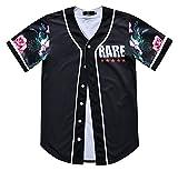 Pizoff Herren Hip Hop 3D Druck Baseball Hemd urban Classic Baseball Jersey Blumen Rare