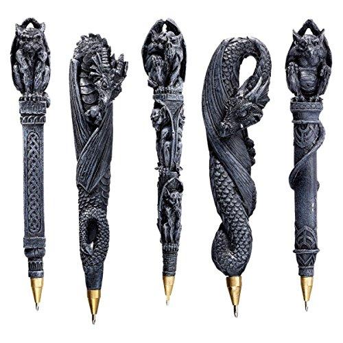 Design Toscano Gargoyles und Drachen Gothic-Deko Kugelschreiber, Polyresin, steingrau, 15 cm, 5er Set - Gothic Gargoyle