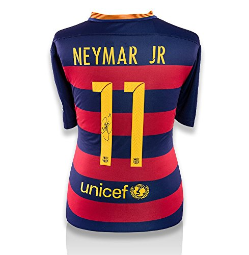 Icons-Shop-Unisex-ICNJBAS3-Neymar-Jr-Back-Signed-Barcelona-2015-16-Home-Shirt-Multi-Colour