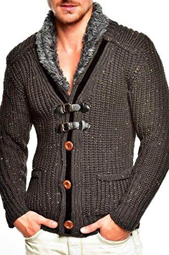 Tazzio cardigan col châle pull en tricot 14-418 gris fonce