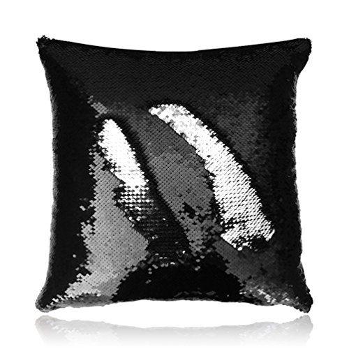 San tungus 45,7 x 45,7 cm azzurro e loto rosa reversibile sequin pillow case, tessuto, silver and black, 18 x 18 inch(without insert)