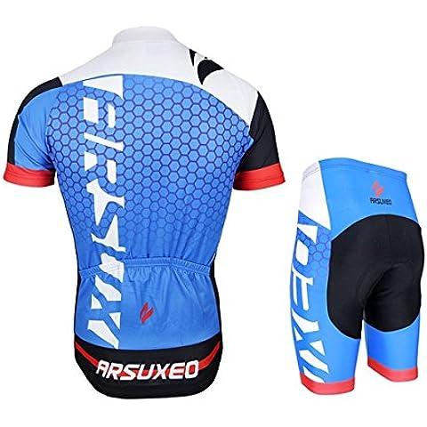MaMaison007 ARSUXEO hombres Ciclismo Jersey bici bicicleta corta mangas Jersey montaña bicicleta ropa camisas-negro verde