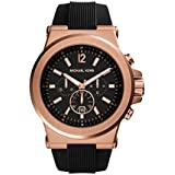 MICHAEL KORS MK8184 - Reloj analógico de cuarzo para hombre con correa de silicona, color negro