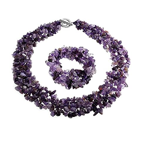 Multi Strands Simulated Amethyst Chips Cluster Necklace and Bracelet Set Silver Plated