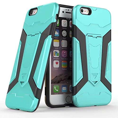 EKINHUI Case Cover Neue Rüstung Tough Hybrid Dual Layer Rüstung Defender PC Hard Shell Cover mit Kickstand [Shockproof Case] ​​Für iPhone 6 Plus & 6s Plus ( Color : Gray ) Green