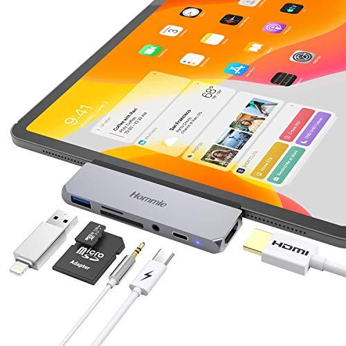 Hommie HUB USB C Adaptador para 2018 iPad Pro, USB-C Hub con HDMI 4K, USB Puerto 3.0 y Puerto Tarjeta de SD, Type-C Adaptador para Macbook, Samsung y más,Gris Espacial