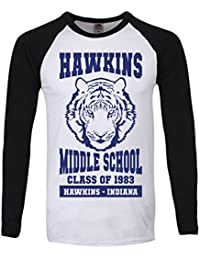 T-Shirt à manches longues Hawkins Middle School Homme Noir et Blanc
