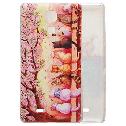 Guran® TPU Silikon Hülle für Cubot P11 Smartphone Gemalt Muster Schutzhülle cover-Katzen und Kirschblüten