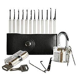 Amile LK81 20 Stück Dietrich Werkzeuge Set der mit Transparent Praxis Vorhängeschloss verbessern die Fähigkeiten von professionellen Schlüsseldienst Schleifen und Anfänger, White