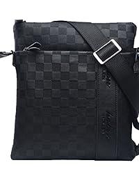 b76da111a50 MissFox Homme D affaires Sac Solide Couleur Plaid PU Cuir iPad Peut être  Placé
