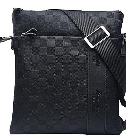 MissFox Homme D'affaires Sac Solide Couleur Plaid PU Cuir iPad Peut être Placé Noir