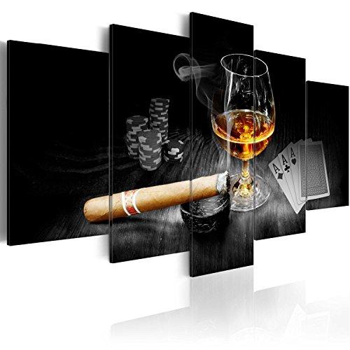 murando - Bilder 200x100 cm Vlies Leinwandbild 5 TLG Kunstdruck modern Wandbilder XXL Wanddekoration Design Wand Bild - Alkohol Zigarre Poker Whisky i-A-0101-b-o - Wandbild