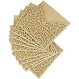ULTNICE 10pcs hueco hacia fuera tarjetas de felicitación decorativas invitación para boda cumpleaños compromiso fiesta oro