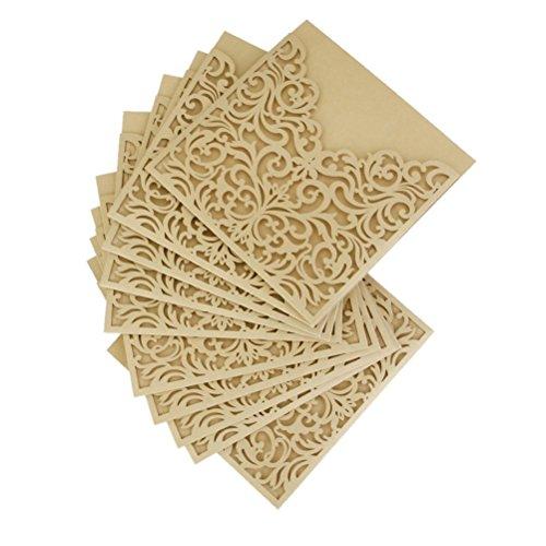 ULTNICE 10Pcs aushöhlen dekorative Einladung Grußkarten für Hochzeit Geburtstag Verlobung Party Gold