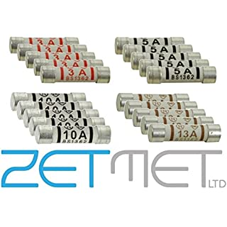 20 x Mixed Electrical Ceramic Household Domestic Mains Plug Top Fuses 3A 5A 10A 13A