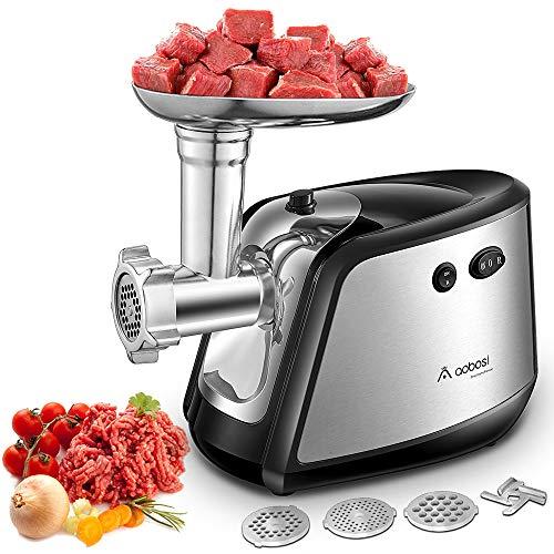 Aobosi Picadora Carne Picadora Electrica de Alimentos 350w con 3 Acero Inoxidable Placas de Molienda Embutidora de Salchichas y Fabricante Kubbe