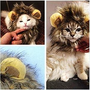 Katzen Spielzeug Kleidung Kostüm Löwenmähne Hut Cosplay Löwe Mähne Haar Perücke