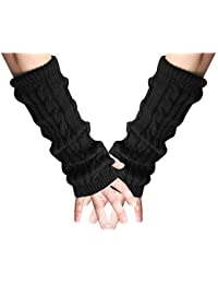 sourcingmap® Mens Knitted Fingerless Textured Design Warmers Gloves