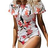 Dragon868 Schulterfrei Blumendruck Rüschen One Piece Badeanzug Bademode Bikini Sommer Monokini (Weiß, S)