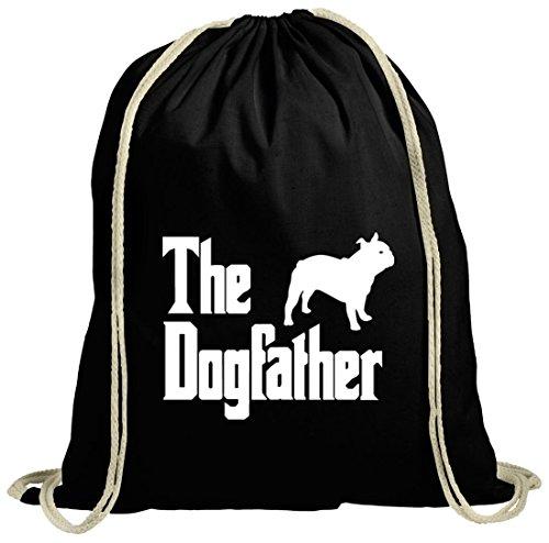 Bulldogge Dog Hund natur Turnbeutel mit The Dogfather Motiv von ShirtStreet schwarz natur