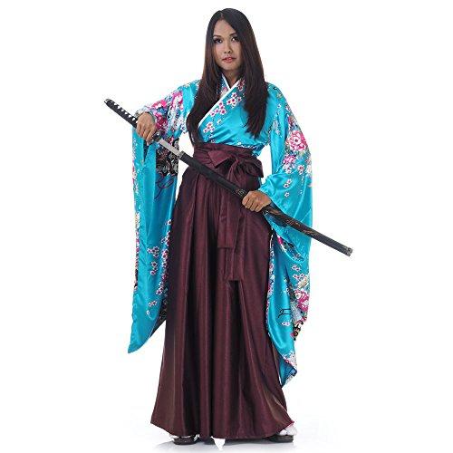 Princess of Asia Japan Damen Geisha Samurai Kimono Outfit Kostüm S M 36 38 40 (Türkis & Weinrot)