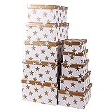 Markenlos Aufbewahrungsboxen/Schachteln im 10er Set mit Deckel Verschiedene Designs (Sterne in Gold)