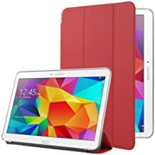 Frosted Texture Flip Leather + Transparent Trosted Plastic Funda Case Carcasa + lápiz capacitivo (Incluye con Holder para Samsun Galaxy Tab 4 10.1/SM-T530 (Red)