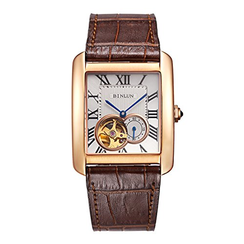 BINLUN Herren Rechteck Gold Silber Automatik Uhren Schwarz Braun Leder Tourbillon Mechanische Armbanduhr