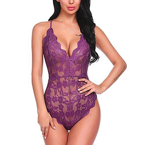 s Body,Frauen Sexy Attraktion Spitze Perspektive Pyjamas Dessous Mesh Teddy Erotik Transparent Reizwäsche Nachtwäsche Babydoll Bodysuit Unterwäsche ()