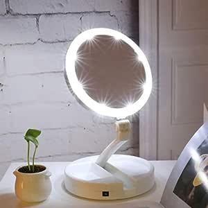 ETL Specchio per Trucco Illuminato a 16 LED con Lente dIngrandimento 10X