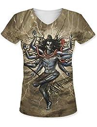 Snoogg Shiva Tandava Womens Casual V-Neck All Over Printed T Shirts Tees