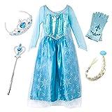 FStory&Winyee Kinder Karneval Party Kostüm Mädchen Eiskönigin ELSA Schneeflocke Blau Prinzessin Kleid Weihnachten Verkleidung Halloween Fest
