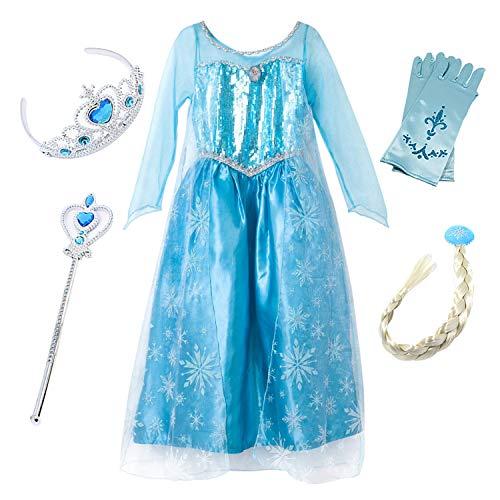 faschingskostuem eiskoenigin elsa FStory&Winyee Kinder Karneval Party Kostüm Mädchen Eiskönigin ELSA Schneeflocke Blau Prinzessin Kleid Weihnachten Verkleidung Halloween Fest
