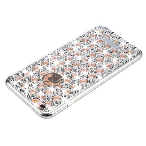 Phone case & Hülle Für iPhone 6 / 6s, Agate & Diamond verkrustete Galvanotechnik TPU schützende rückseitige Abdeckungs-Fall ( Color : Gold ) Silver