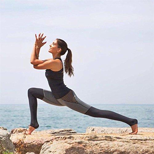 Pantalon de yoga,Tonwalk Femmes Patchwork en maille Maigre Élastique Yoga Fitness/Workout leggings Gris