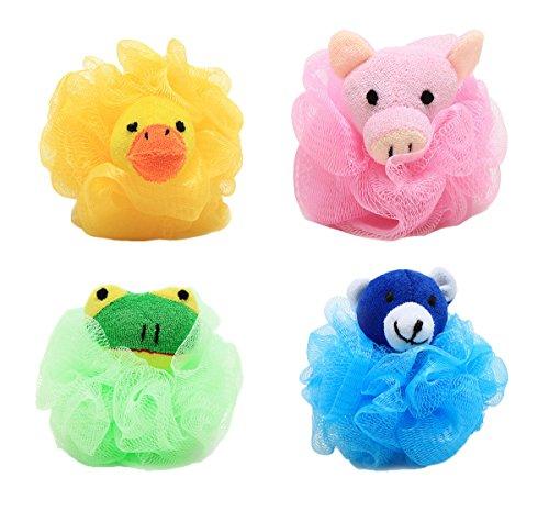 4er-Pack Lovely Tierform Badeschwamm Badeknäuel Duschknäule Dusche Seifschwamm für Kinder und Erwachsene