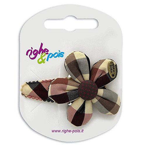 132 – 802 – Pince pour cheveux clic clac cm 5 revêtue avec fleur shabby tissu Tartan cm 5 – Pinces pour Cheveux
