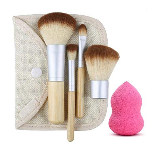 Vonisa 4 pcs Lot de brosse de maquillage professionnel Poignée en bambou synthétique Premium Kabuki Fond de teint Mélange Blush Concealer Eye visage liquide Poudre crème Cosmétique Pinceaux kit avec sac