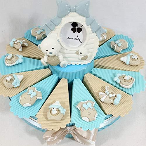 Bomboniera nascita magneti assortiti con portafoto orsetto, torta da 14 fette, 14 blister di confetti