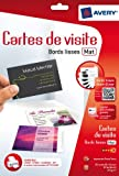 AVERY - C32015-5 - 80 cartes de visite blanches à bords lisses. 85x54mm. Impression jet d'encre