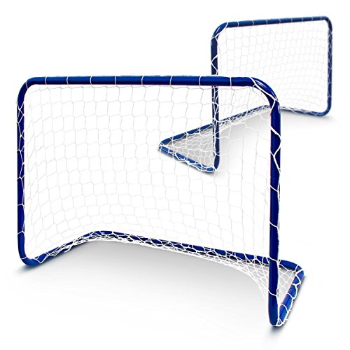 BAKAJI Set 2 Porte da Calcio Allenamento calcetto Rigori, Porta da Calcio/Calcetto per Bambini Esterno/Giardino 2 Pezzi, 78 X 56 X 45 cm, colore Blu